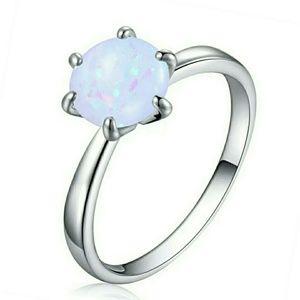 Silver Opal Fashion Ring